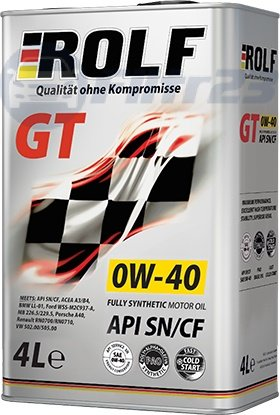 Масло ROLF GT 0W-40 4л синтетическое