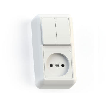 Блок комбинированный ОП БКВР-404 Оптима 2-кл. выкл. + розетка белый Кунцево 8062