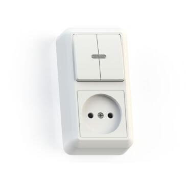 Блок комбинированный ОП БКВР-431 Оптима 2-кл. выкл. с подсветкой + розетка белый Кунцево 8063