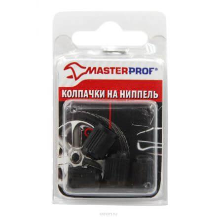 Набор колпачков Masterprof для ниппеля колеса 4шт пластик черный