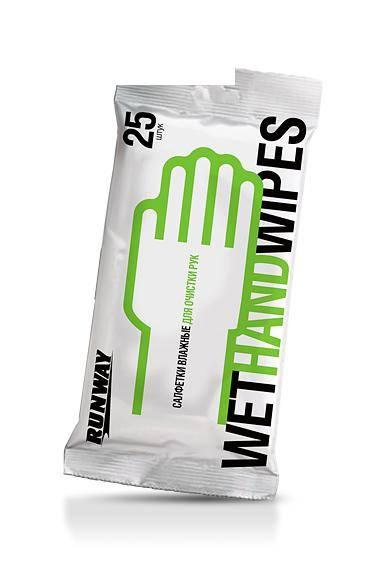 Салфетки влажные для очистки рук Runway 25шт RW640