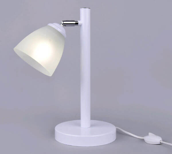 Светильник настольный Лютня РС20657 WT+CR/1T 1х60Вт Е27 белый хром