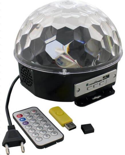 Светильник музыкальный Диско-шар СТАРТ LED Disco RGB TL/MP3 220В ДУ динамик микрофон проигрывает с USB/miniSD