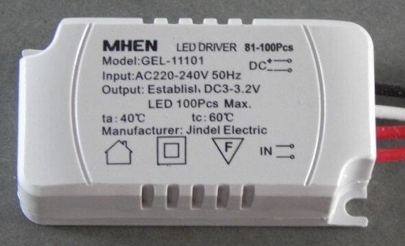 Драйвер LED для одноцветных и многоцветных диодов 81-100 6,5х3,5х2см белый