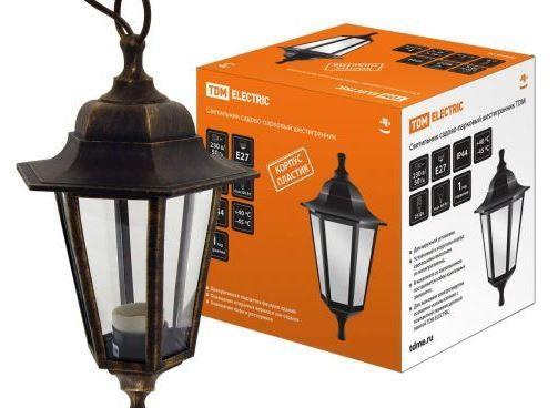Светильник садовый шестигранный подвесной TDM НСУ 06-60-001 SQ0330-0713 60Вт E27 220B бронза
