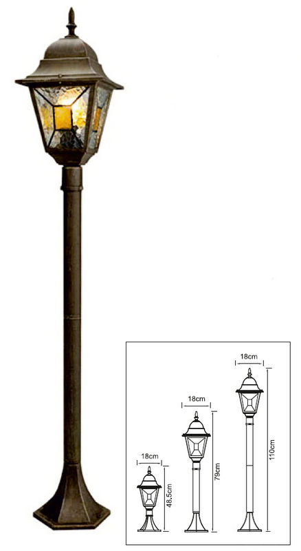 Столб Crespo 3 в 1 485-790-1100мм 100Вт золото черное, мозаика цветная