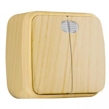 Выключатель 2-клавишный EKF EGV10-123-30 ОП Минск 10А с индикатором светлое дерево