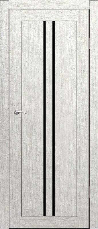 Дверь межкомнатная Токио со стеклом лакобель черный 700 роялвуд белый