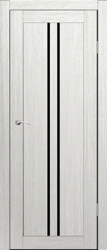 Дверь межкомнатная Токио со стеклом лакобель черный 900 роялвуд белый