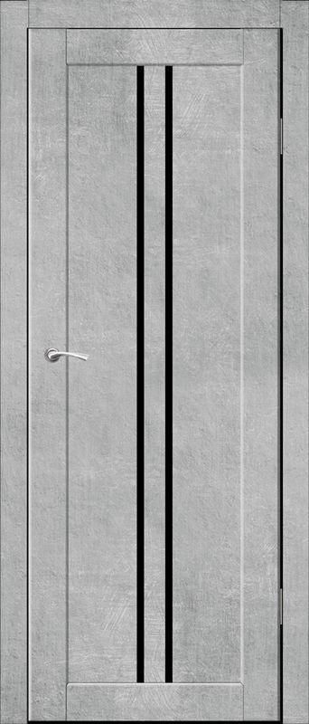Дверь межкомнатная Токио со стеклом лакобель черный 600 бетон серый