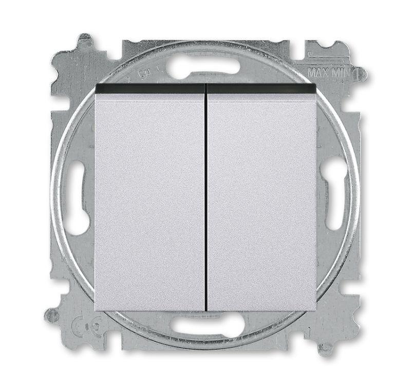 Переключатель 2-кл. Levit серебро, дымчато-черный ABB 2CHH595245A6070