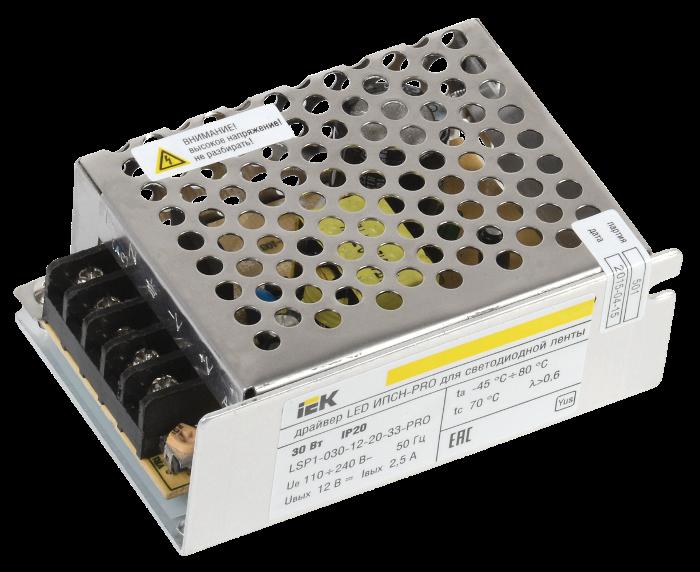 Драйвер LED ИЭК ИПСН-PRO 5050 30Вт 12В блок-клеммы IP20 LSP1-030-12-20-33-PRO