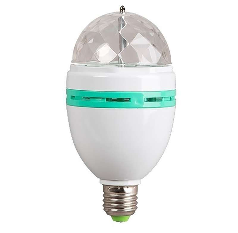 Лампа светодиодная Диско NEON-NIGHT 601-253 3LED RGB 6Вт E27 220В 80х80х195мм