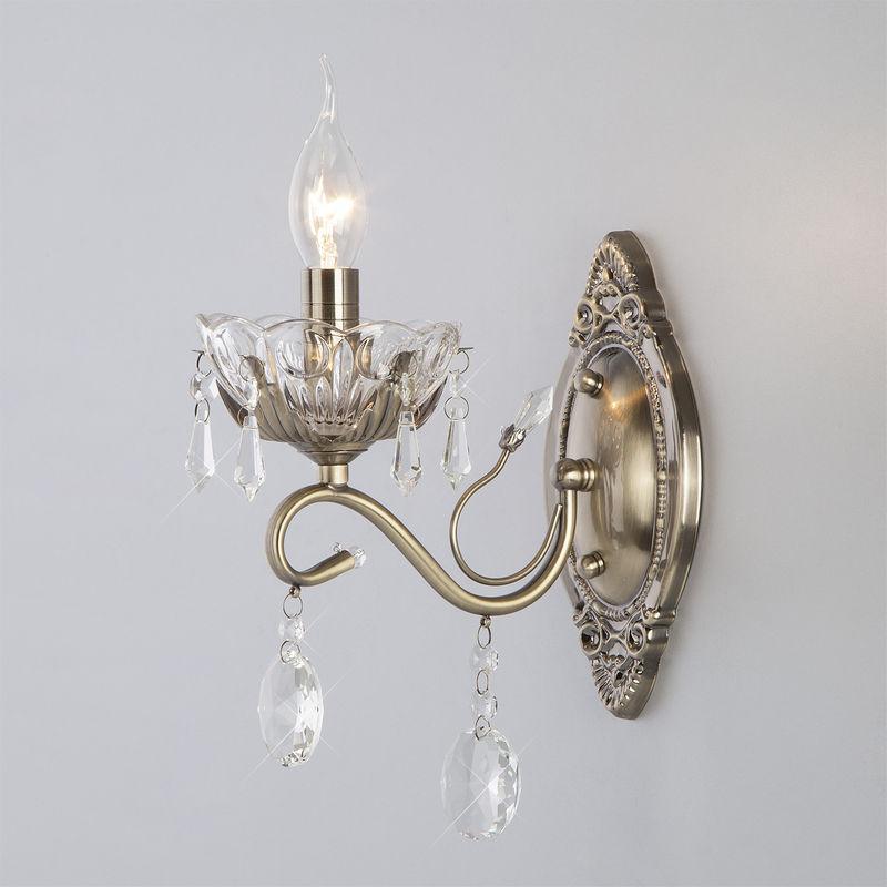 Светильник настенный Eurosvet 10103/1 античная бронза/прозрачный хрусталь