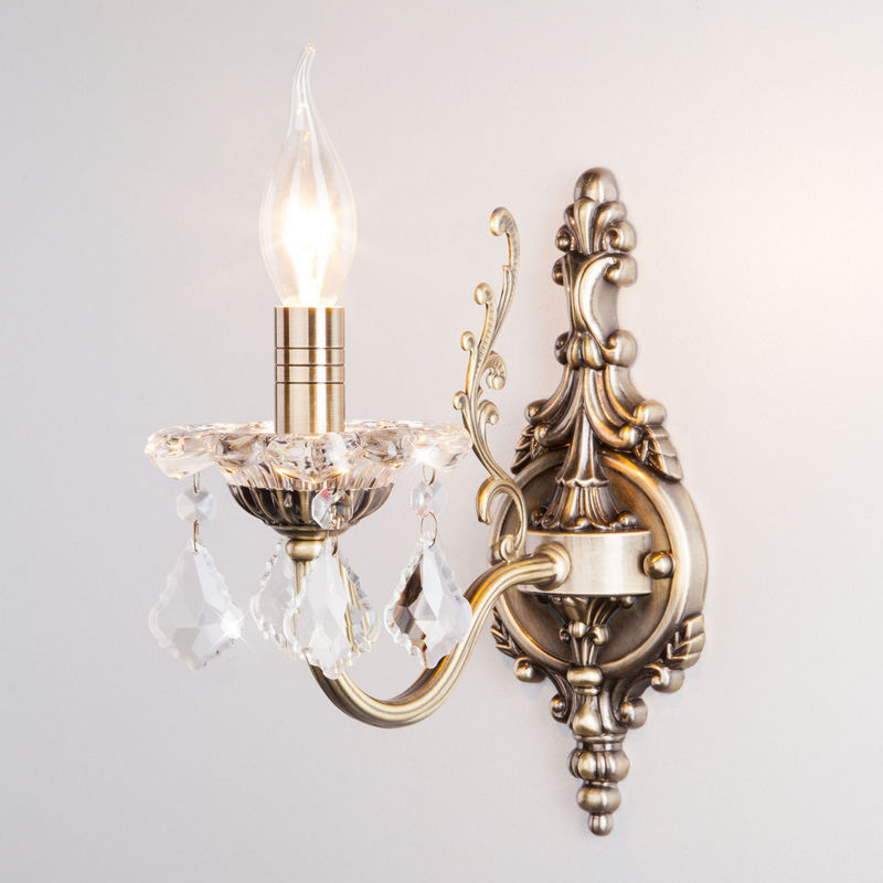 Светильник настенный Eurosvet 3281/1 античная бронза/прозрачный хрусталь