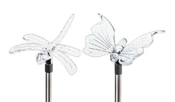 Светильник садовый ЭРА Бабочка+Стрекоза 1xLED прозрачный/черный металл/пластик