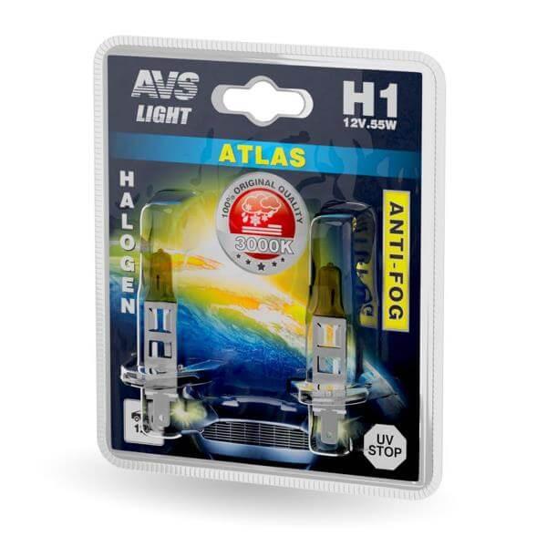 Лампа галогенная AVS ANTI-FOG H1 55W 12V 3000К желтый 2шт