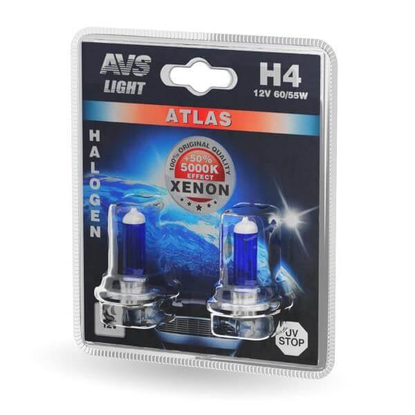 Лампа галогенная AVS ATLAS H4 60/55W 12V 5000К 2шт
