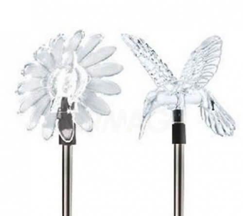 Светильник садовый ЭРА Цветок+Колибри 1xLED прозрачный/черный металл/пластик