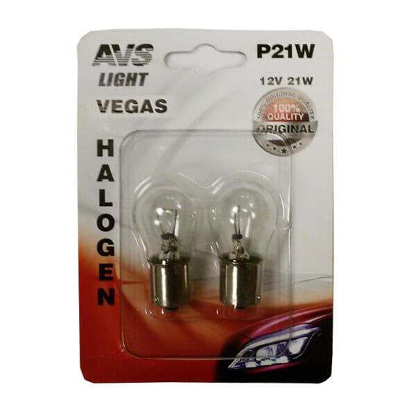 Автолампа AVS Vegas 12V P21W BA15S 2шт