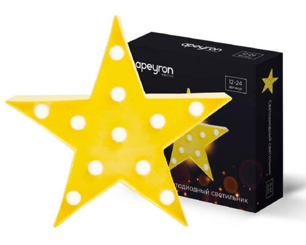 Светильник APEYRON Звезда 12-24 3Вт LED желтый АБС-пластик 270х270х27мм