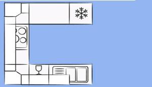 планировка П-образной кухни